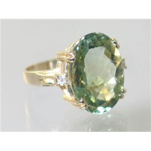 R269, Green Amethyst, Gold Ring