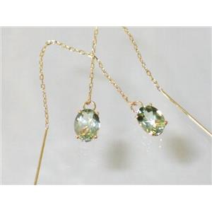 E003, Green Amethyst, 14k Gold Earrings