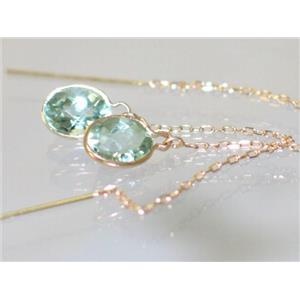 E005, Green Amethyst, 14k Gold Threaders