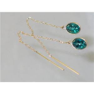 E005, Paraiba Topaz, 14k Gold Threader Earrings