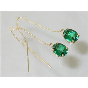 E103, Russian Nanocrystal Emerald, 14k Gold Threader Earrings