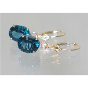E107, Quantum Cut London Blue Topaz, 14k Gold Earrings