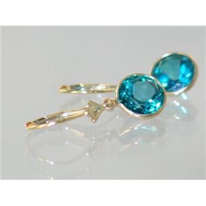E111, Paraiba topaz, 14k Gold Earrings