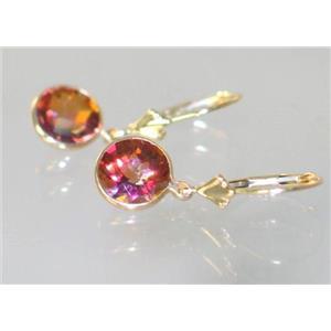 E111, Twilight Fire Topaz, 14k Gold Earrings
