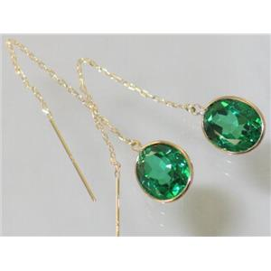 E205, Russian Nanocrystal Emerald, 14k Gold Earrings