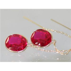 E205, Created Ruby, 14k Gold Earrings