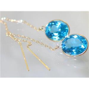 E205, Swiss Blue Topaz, 14k Gold Earrings