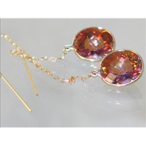 E205. Twilight Fire Topaz, 14k Gold Earrings