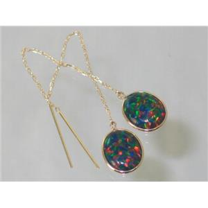 E205, Created Black Opal, 14k Gold Earrings