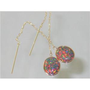 E205, Created Red/Brown Opal, 14k Gold Earrings