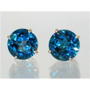 E212, London Blue Topaz, 14k Gold Earrings