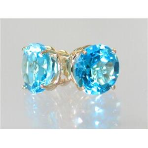 E212, Swiss Blue Topaz, 14k Gold Earrings