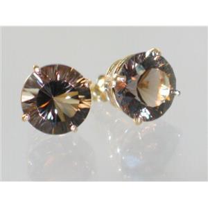 E212, Smoky Quartz, 14k Gold Earrings