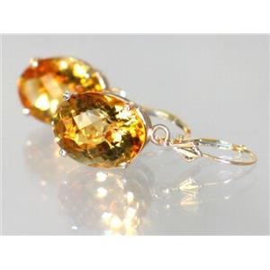 E407, Citrine, 14k Gold Earrings