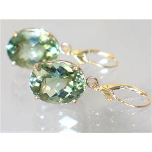 E407, Green Amethyst, 14k Gold Earrings