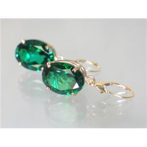 E407, Russian Nanocrystal Emerald, 14k Gold Earrings