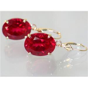 E407, Created Ruby, 14k Gold Earrings