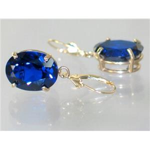 E407, Created Sapphire, 14k Gold Earrings