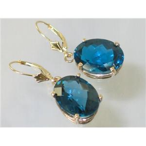 E407, London Blue Topaz, 14k Gold Earrings