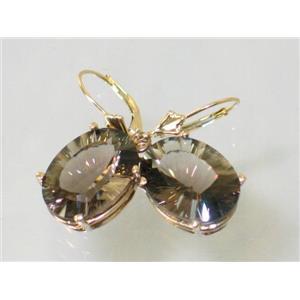 E407, Smoky Quartz, 14k Gold Earrings