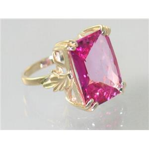 R039, Pure Pink Topaz, Gold Ring