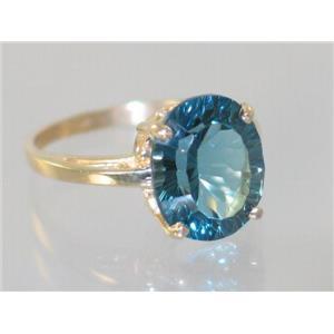 R055, Quantum Cut London Blue Topaz, Gold Ring