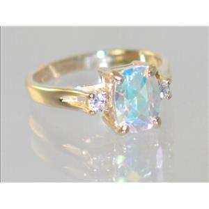 R171, Merccury Mist Topaz, Gold Ring