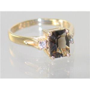 R171, Smoky Quartz, Gold Ring