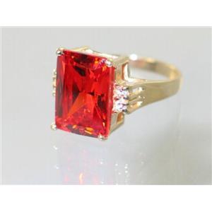 R201, Padparadsha CZ, Gold Ring