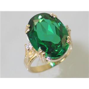 R269, Russian Nanocrystal Emerald, Gold Ring