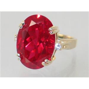 R269, Created Ruby, Gold Ring