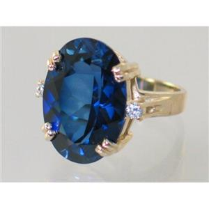 R269, Created Blue Sapphire, Gold Ring