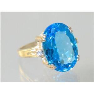 R269, Swiss Blue Topaz, Gold Ring