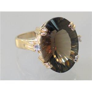 R269, Smoky Quartz, Gold Ring