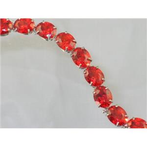 SB003, Created Padparadsha Sapphire, 925 Sterling Silver Bracelet