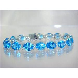 SB003, Swiss Blue Topaz, 925 Sterling Silver Bracelet