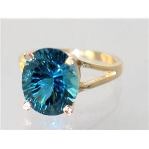 R132, Quantum Cut London Blue Topaz, Gold Ring
