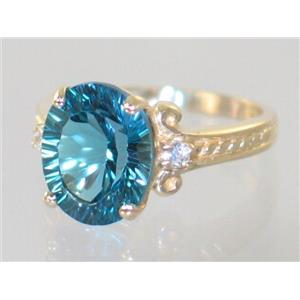 R136, Quantum Cut London Blue Topaz, Gold Ring