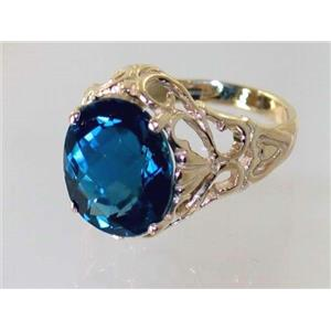 R114, London Blue Topaz, Gold Ring