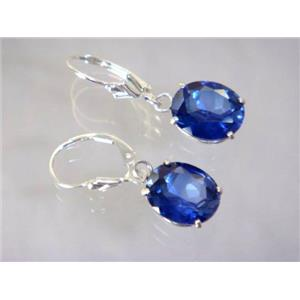 SE207, Created Sapphire, 925 Sterling Silver Earrings