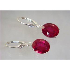 SE207, Created Ruby, 925 Sterling Silver Earrings