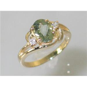 R176, Green Amethyst Gold Ring