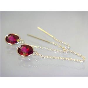 E005, Crimson Topaz, 14k Gold Threader Earrings