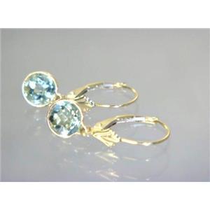 E011, Green Amethyst, 14k Gold Earrings