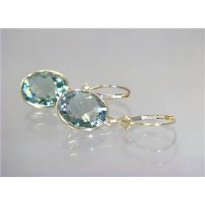 E201, Green Amethyst, 14k Gold Earrings