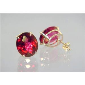 E202, Crimson Topaz, 14k Gold Earrings