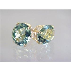 E202, Green Amethyst, 14k Gold Earrings