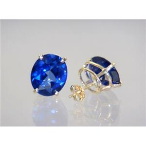 E202, Created Blue Sapphire, 14k Gold Earrings