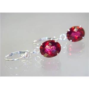 SE107, Crimson Topaz, 925 Sterling Silver Earrings