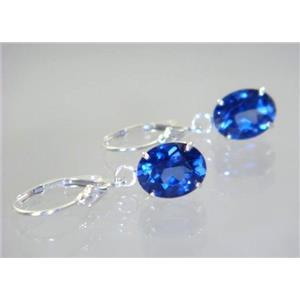 SE107, Created Blue Sapphire, 925 Silver Earrings